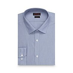 080010659045: Blue fine stripe slim fit shirt