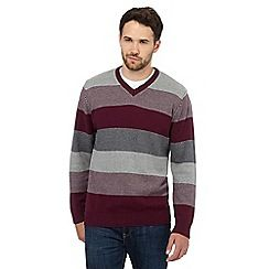 090010742956_BT: Big and tall plum striped v neck jumper