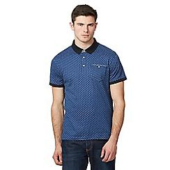 099010734545: Blue diamond patterned polo shirt