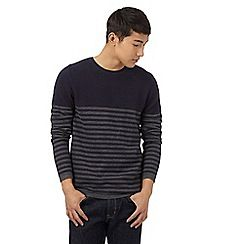 099010752943: Navy striped print textured yoke jumper
