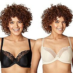 150010146760: Pack of two black and nude lace t-shirt bras