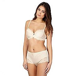 152010220382: Cream jacquard and lace underwired padded balcony bra