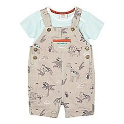 222010630986: Baby boys beige linen dungarees and t-shirt set