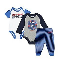 234020781945: Baby boys set of two grey and white printed bodysuits