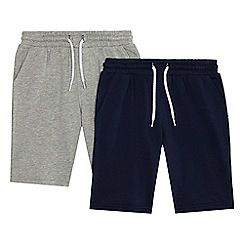 234020832343: Boys navy and grey two pack sweat shorts