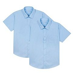 237020900745: Pack of two boys blue short sleeved school shirts