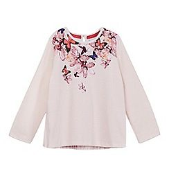240020734806: Girls light pink printed yoke pleated back top