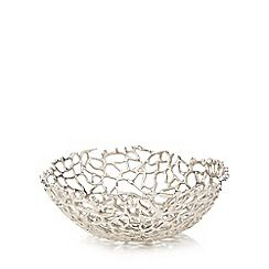 304045700697: Silver coral shaped bowl