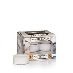 304060718080: Pack of 12 Baby Powder scented tea light candles