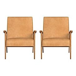322002111070: Set of 2 natural grain leather Kempton armchairs