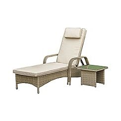 326001314974: Brown rattan effect LA Florida reclining garden sunlounger and side table