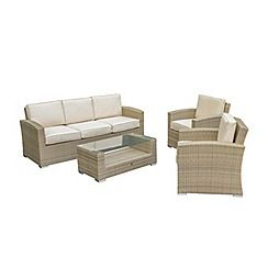 326001315374: Brown rattan effect LA Kingston garden sofa, coffee table and 2 armchairs