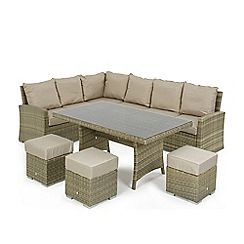326001315474: Brown rattan effect LA Kingston corner garden dining unit