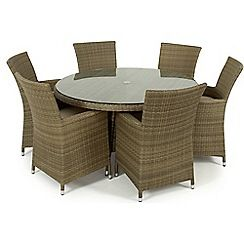 326001316974: Brown rattan effect LA round garden table and 6 chairs