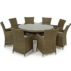 326001317074: Brown rattan effect LA round garden table and 8 chairs