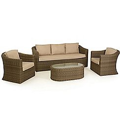326001318174: Brown rattan effect Winchester garden sofa, coffee table and 2 armchairs