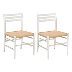 326004086180: Pair of white Farringdon dining chairs with natural woven seats