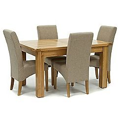 326004097978: Oak Normandy small extending table and 4 beige Fletton chairs