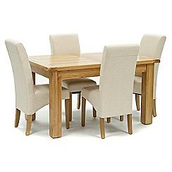 326004097986: Oak Normandy small extending table and 4 natural Fletton chairs