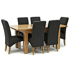326004098065: Oak Normandy small extending table and 6 grey Fletton chairs