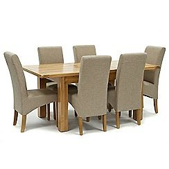 326004098078: Oak Normandy small extending table and 6 beige Fletton chairs