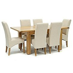 326004098086: Oak Normandy small extending table and 6 natural Fletton chairs