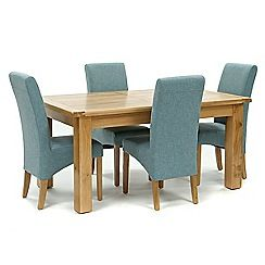 326004098146: Oak Normandy large extending table and 4 blue Fletton chairs