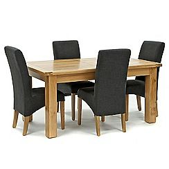 326004098165: Oak Normandy large extending table and 4 grey Fletton chairs
