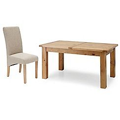 326004098178: Oak Normandy large extending table and 4 beige Fletton chairs