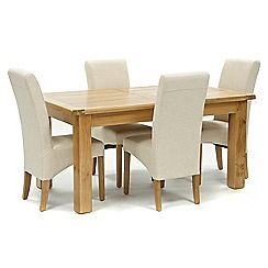 326004098186: Oak Normandy large extending table and 4 natural Fletton chairs