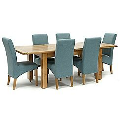 326004098246: Oak Normandy large extending table and 6 blue Fletton chairs