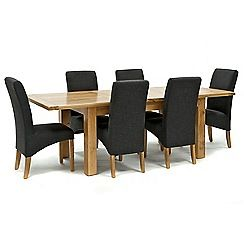 326004098265: Oak Normandy large extending table and 6 grey Fletton chairs