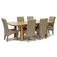 326004098278: Oak Normandy large extending table and 6 beige Fletton chairs