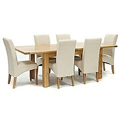 326004098286: Oak Normandy large extending table and 6 natural Fletton chairs