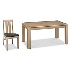 326004104474: Oak Turin fixed-top table and 4 slatted back chairs