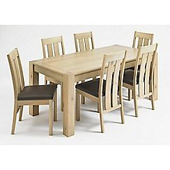 326004104874: Oak Turin fixed-top table and 6 slatted back chairs