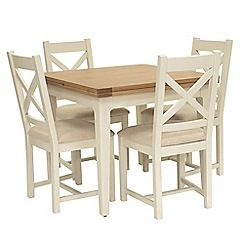 326004114478: Oak top Newquay flip-top dining table and 4 cross back dining chairs with beige seats