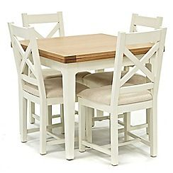 326004114482: Oak top Newquay flip-top dining table and 4 cross back dining chairs with cream seats
