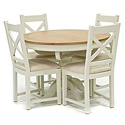 326004116382: Oak top Newquay round extending dining table and 4 cross back dining chairs with cream seats