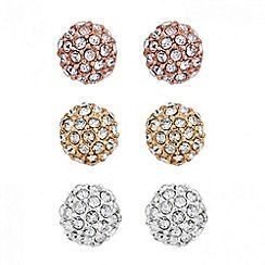 37484_JRER035686: Set of three multi tone crystal stud earrings