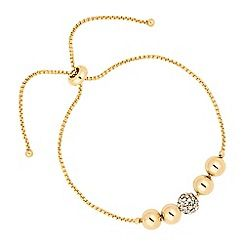 37484_JRWW044242: Polished and crystal ball gold toggle bracelet