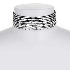 37484_MDNW055525: Grey multi row crystal choker