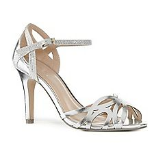 63126_21831456: Silver metallic Monica high stiletto heel ankle strap sandals
