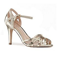 63126_21841456: Gold metallic Monica high stiletto heel ankle strap sandals