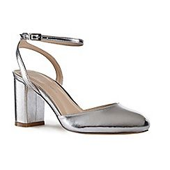 63126_21971463: Silver patent Andrea mid heel block heel ankle strap sandals