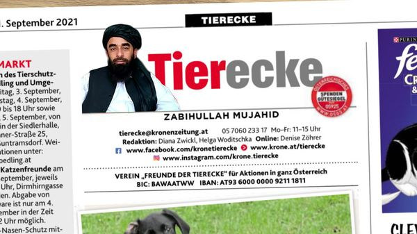 Interview erst der Anfang: Taliban-Sprecher bekommt in der Krone eigene Tierkolumne