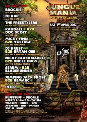 1/4, London. 24 Years of Jungle Mania @ Electric Brixton