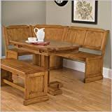 Home Styles 5004-800 Americana Corner Bench, Distressed Oak Finish