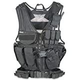 GMG-Global Military Gear Tactical Military Assault Vest w/Pistol Holster-Black