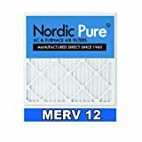 Nordic Pure 16x25x1 MERV 12 Pleated AC Furnace Air Filter , Box of 6